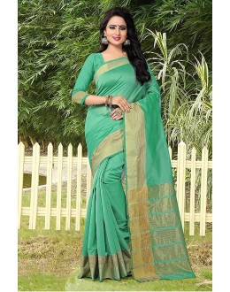 Festival Wear Green Banarasi Silk Saree  - 81757