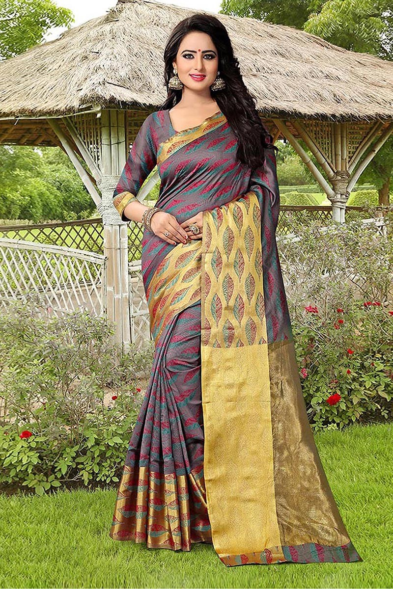 Party Wear Multi Colour Banarasi Silk Saree  - 81758
