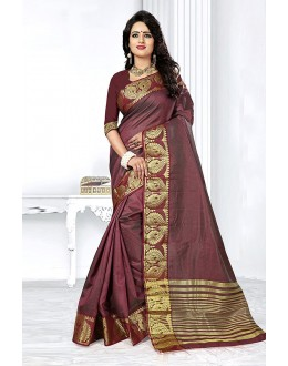 Party Wear Brown Art Silk Saree  - 81763