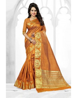 Casual Wear Mustard Art Silk Saree  - 81765