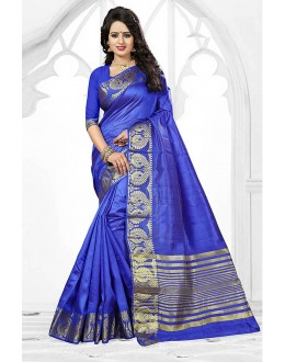Ethanic Wear Blue Art Silk Saree  - 81766