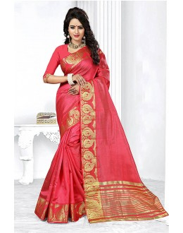 Festival Wear Peach Art Silk Saree  - 81767
