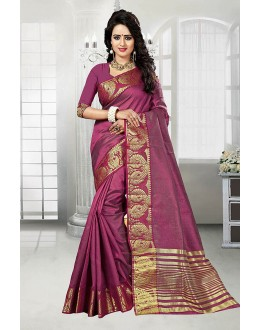 Wedding Wear Magenta Art Silk Saree  - 81768