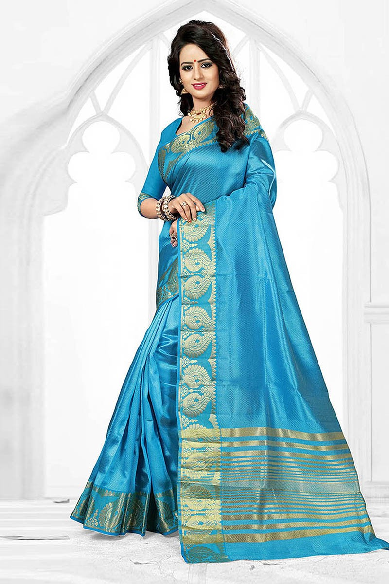 Party Wear Blue Art Silk Saree  - 81769