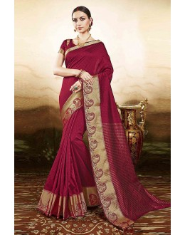 Casual Wear Maroon Silk Saree  - 81770