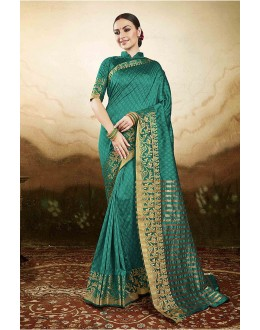 Ethanic Wear Green Silk Saree  - 81771