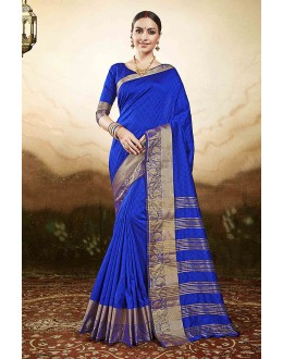 Traditional Wear Blue Silk Saree  - 81772