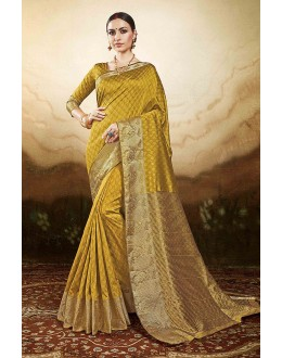 Party  Wear Mustard Silk Saree  - 81773