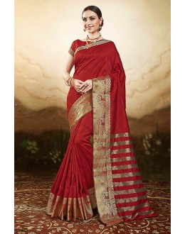 Wedding  Wear Red Silk Saree  - 81775