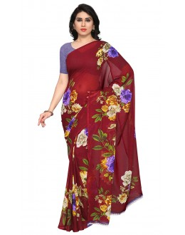 Festival Wear Red Ranyal Printed Saree  - 81784