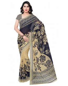 Traditional Wear Blue & Beige Ranyal Printed Saree  - 81790