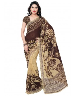Festival Wear Brown & Cream Ranyal Printed Saree  - 81791