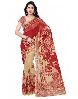 Casual Wear Red & Cream Ranyal Printed Saree  - 81793