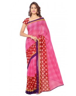 Traditional Wear Pink  Ranyal Printed Saree  - 81817