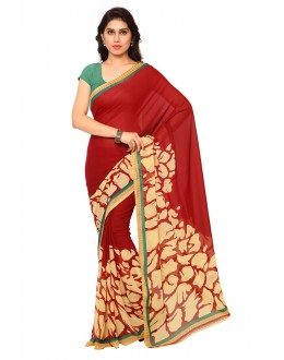 Party Wear Red Ranyal Printed Saree  - 81829