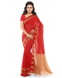 Casual Wear Red Ranyal Printed Saree  - 81885