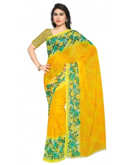 Wedding Wear Yellow Ranyal Printed Saree  - 81933