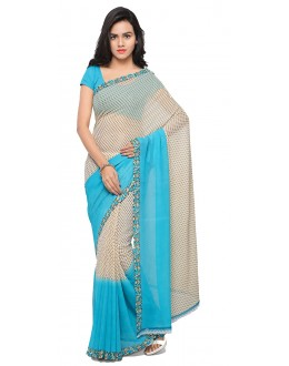 Caual Wear Blue & White  Ranyal Printed Saree  - 81949