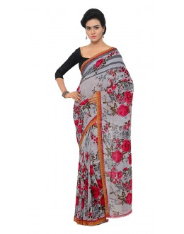 Wedding Wear Multi Colour Ranyal Printed Saree  - 81952