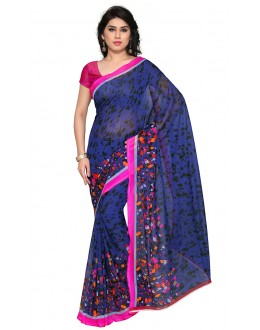 Traditional Wear Blue Ranyal Printed Saree  - 81960