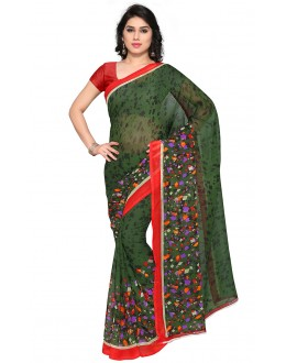 Wedding Wear Green Ranyal Printed Saree  - 81961