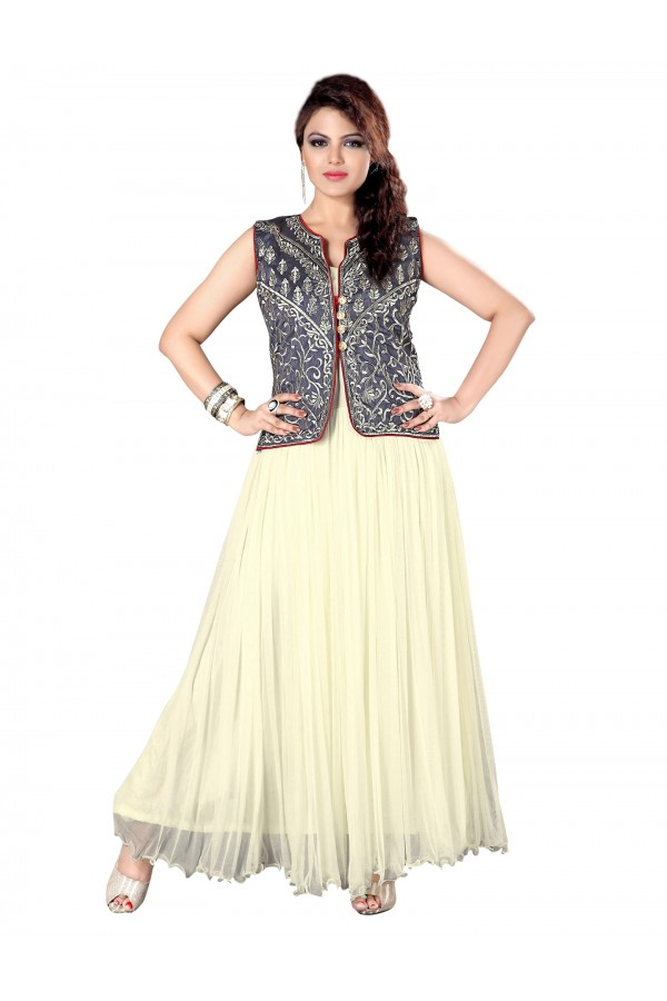 Gorgeous Party Wear Embroidered Net Cream Gown - EBSFGLF413014 ( EBSFG41 )