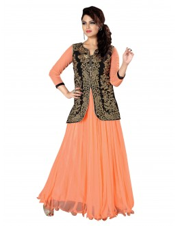 Stunning Party Wear Embroidered Net Peach Gown - EBSFGLF413016 ( EBSFG41 )