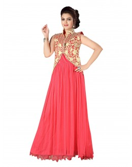 Stylish Party Wear Embroidered Net Dusty Pink Gown - EBSFGLF413011 ( EBSFG41 )