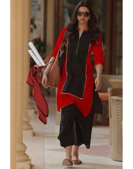 Bollywood Replica - Deepika Padukone Red & Black Cotton Salwar Suit - EBSFSK223011B ( EBSFSK22 )