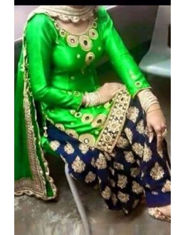 Bollywood Replica - Designer Green & Blue Cotton Patiala Suit - EBSFSK223008B ( EBSFSK22 )