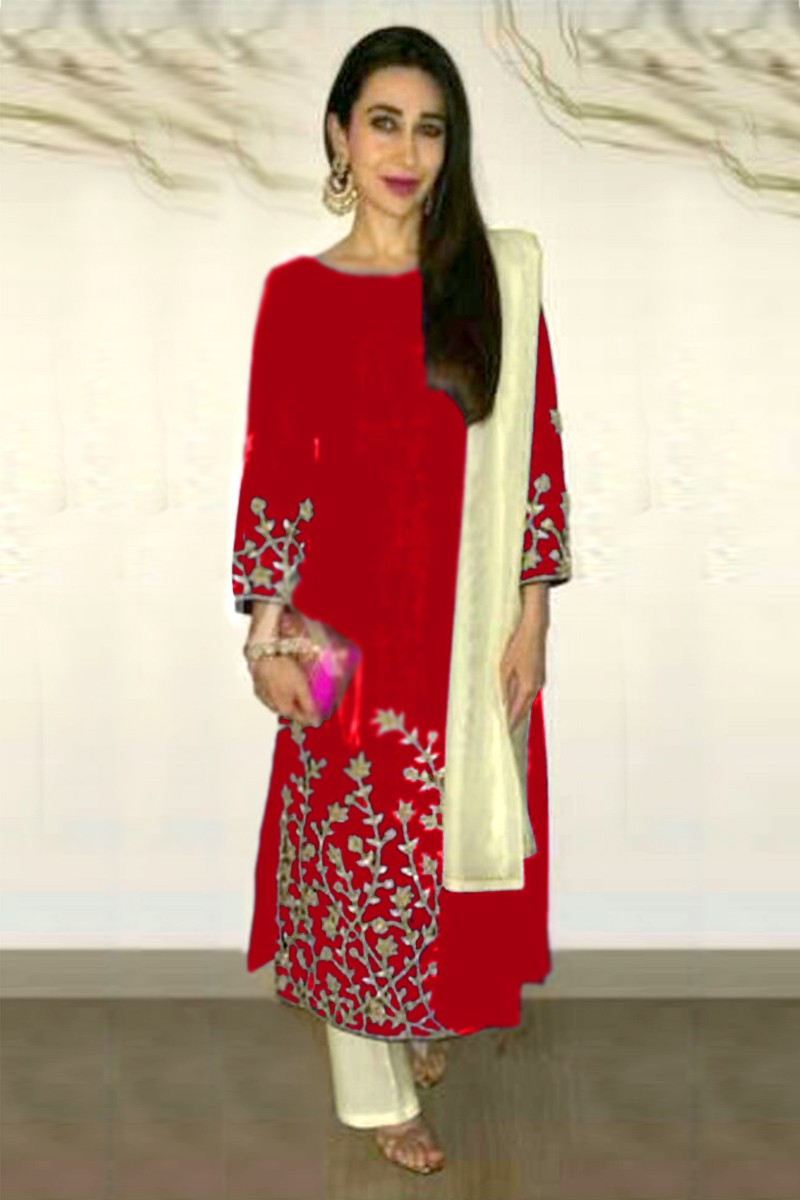 Karishma Kapoor Red Embroidered Cotton Salwar Suit - EBSFSK223005C ( EBSFSK22 )