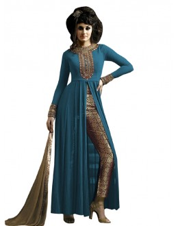 Party Wear Blue & Beige Straight Cut Salwar Suit - EBSFSK223001I ( EBSFSK22 )