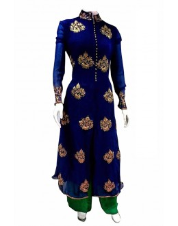 Party Wear Blue & Green Straight Cut Salwar Suit  - EBSFSK223052