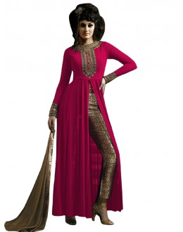 Party Wear Pink & Beige Straight Cut Salwar Suit - EBSFSK223001H ( EBSFSK22 )
