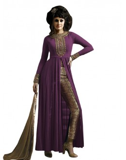 Party Wear Purple & Beige Straight Cut Salwar Suit - EBSFSK223001F ( EBSFSK22 )