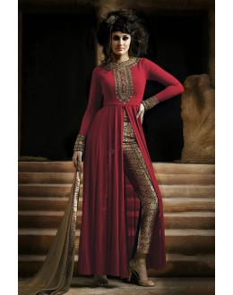 Party Wear Red & Beige Georgette Straight Cut Salwar Suit - EBSFSK223001C ( EBSFSK22 )