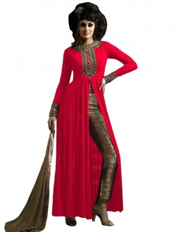 Party Wear Red & Beige Straight Cut Salwar Suit - EBSFSK223001J ( EBSFSK22 )