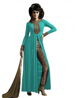 Party Wear Sky Blue & Beige Straight Cut Salwar Suit - EBSFSK223001G ( EBSFSK22 )