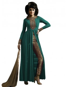 Party Wear Turquoise & Beige Straight Cut Salwar Suit - EBSFSK223001E ( EBSFSK22 )