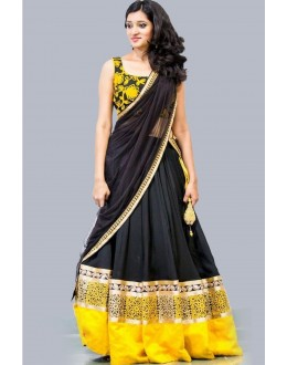 Bollywood Replica - Designer Georgette Black & Yellow Lehenga Choli - EBSFLC234018