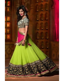 Bollywood Replica - Designer Georgette Lime Green Lehenga Choli - EBSFLC234001