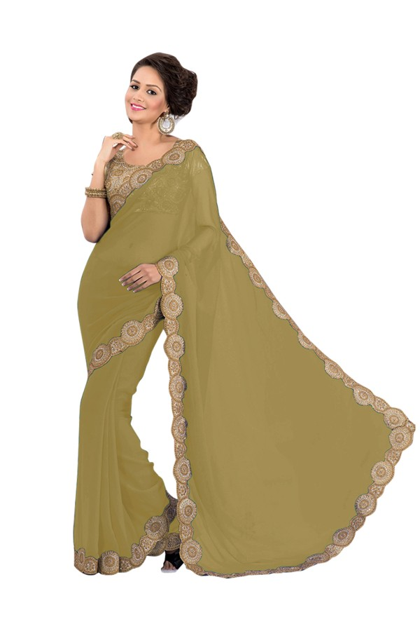 Party Wear Georgette Beige Saree - EBSFS16598