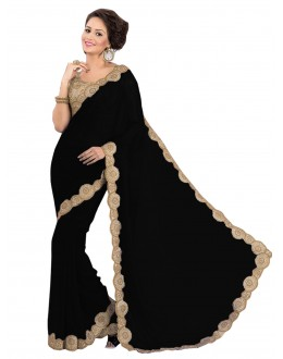 Party Wear Georgette Black Saree - EBSFS16571