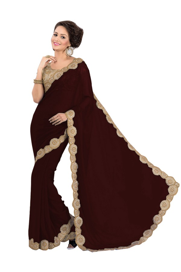 Party Wear Georgette Brown Saree - EBSFS16586