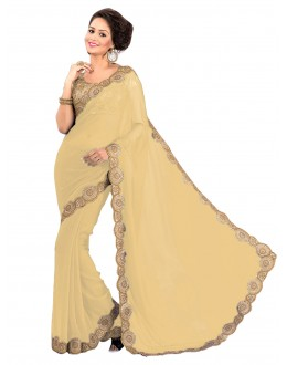Party Wear Georgette Cream Saree - EBSFS16596