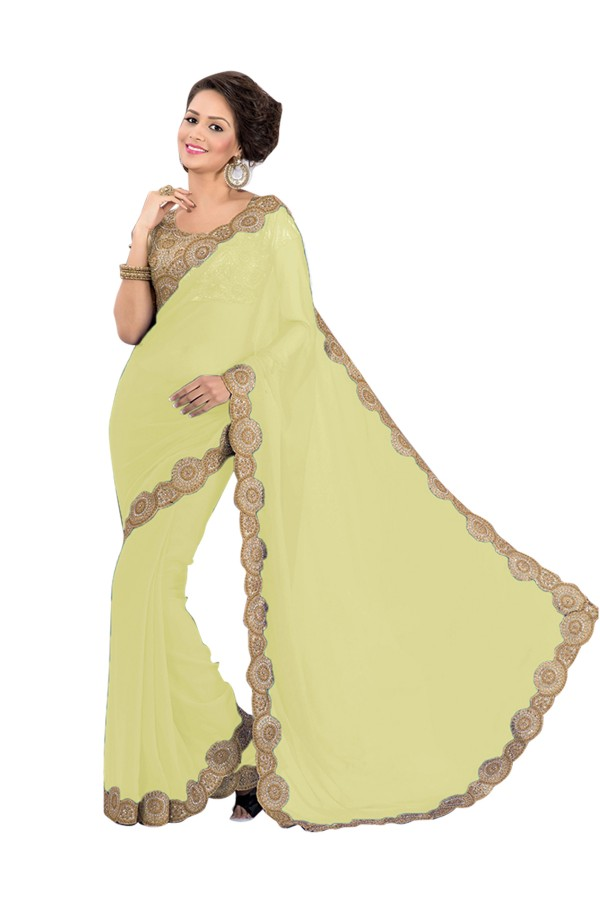 Party Wear Georgette Cream Saree - EBSFS16597