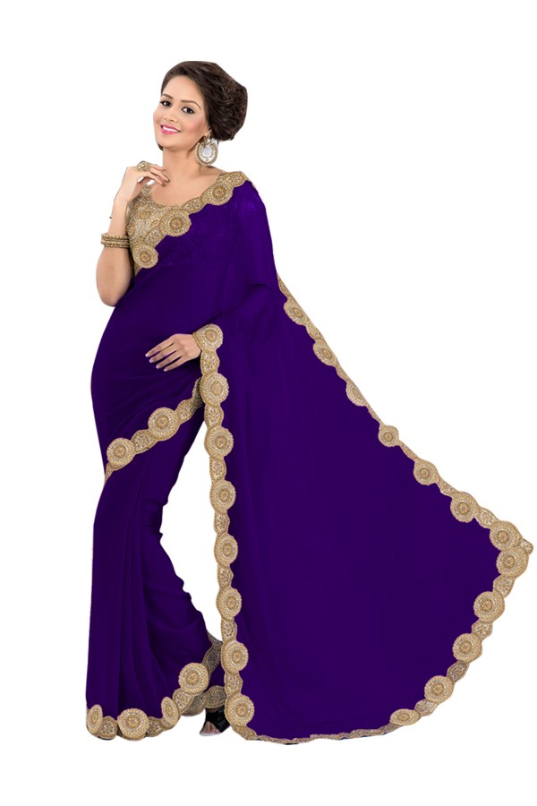 Party Wear Georgette Dark Blue Saree - EBSFS16554