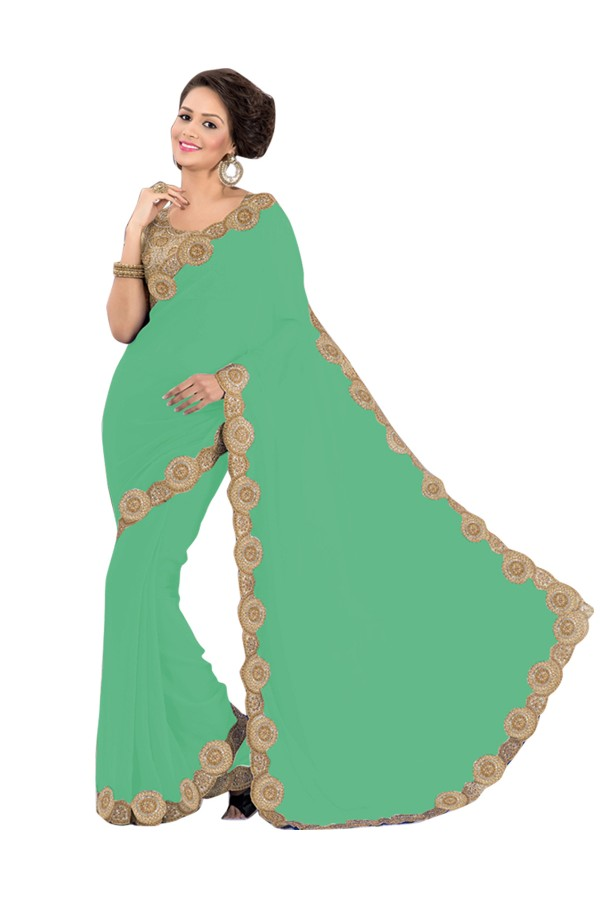 Party Wear Georgette Green Saree - EBSFS16512