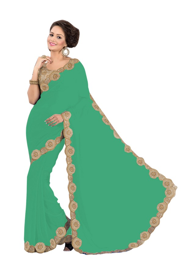 Party Wear Georgette Green Saree - EBSFS16518