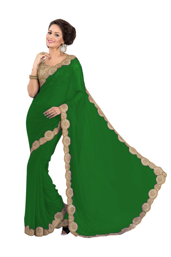Party Wear Georgette Green Saree - EBSFS16568